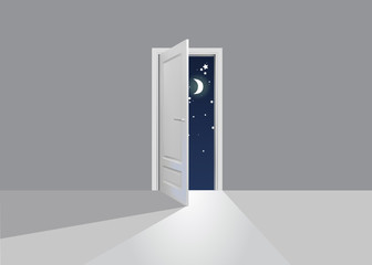 Opened door at night