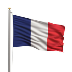 Flag of France waving in the wind in front of white background