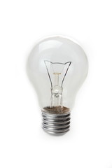 Clear light bulb with filament showing