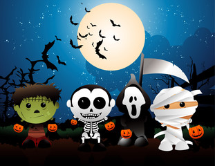terror costumes halloween vector