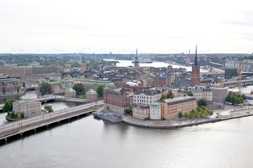 Aerial view of the old town Stockholm Sweden