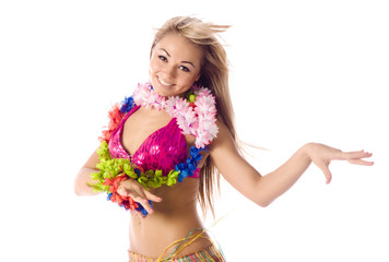 pretty dance girl in hawaiian costume isolated