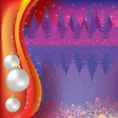 christmas greeting with white balls and purple forest