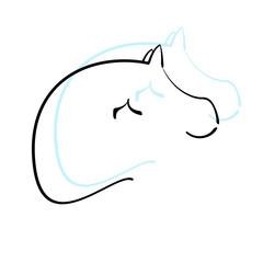 Pferdelogo schwarz blau