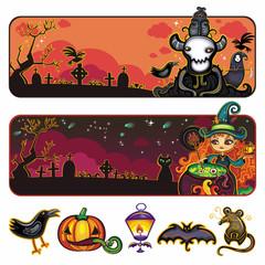 Halloween horizontal cartoon banners 1
