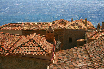 Roofs Monemvasia, Greece