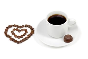Love coffee. Heart and coffee