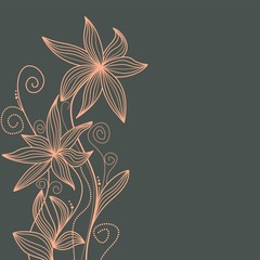 Fototapete - Hand drawn floral background