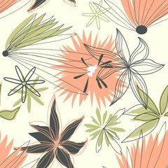 Tuinposter Abstract bloemen Retro floral seamless background