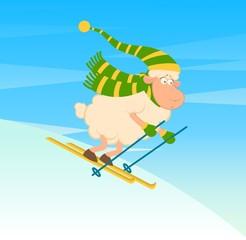 Cartoon funny skier sheep.