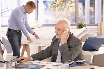 Senior businessman and young architect working