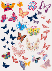 stylized butterflies collection