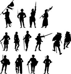 Fourteen Knight and Medieval Figure Silhouettes