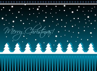 Christmas card with trees, vector