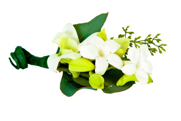 Wedding boutonneire with white stephanotis