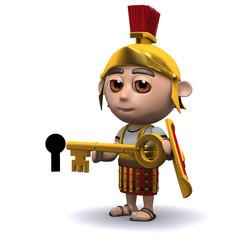 Foto op Canvas Ridders 3d Roman soldier with golden key