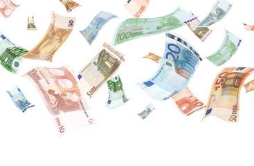 Falling euros on white background (copyspace below)