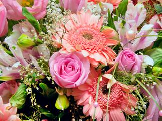 Huge bouquet of various pink flowers