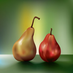 two vector pears side by side