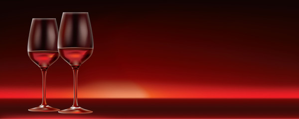 vector red wine for two banner with lots of copy space