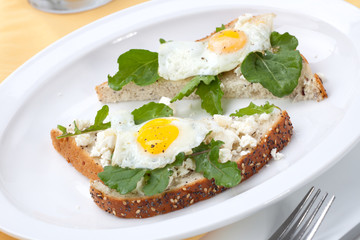 Open-Faced Sandwich with Fried Egg
