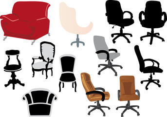 set of different chairs on white