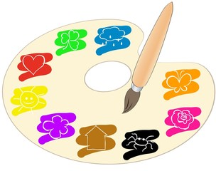 a palette with spots of paint highlighting simple pictures