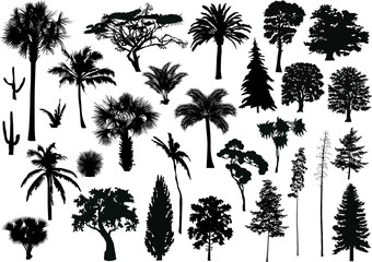 large set of black trees on white