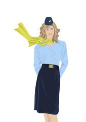 Stewardess on a white background
