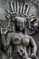 stone carving in angkor wat,cambodia