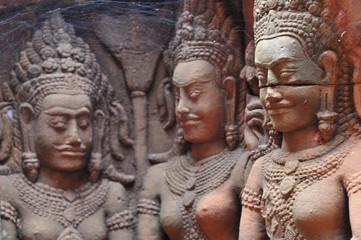 stone carvings in angkor wat,cambodia