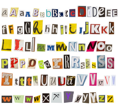 alphabet made of letters from newspapers