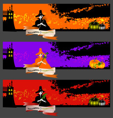 Halloween cards, banners or backgrounds set with pretty witches