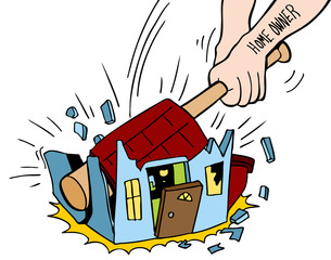 Homeowner Destroying House