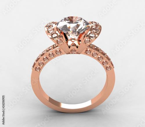 Tiffany 18k Rose Gold Diamond Ribbon Engagement Ring Stock Photo