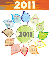 Calendar for 2011 with leaves. Starts Sunday