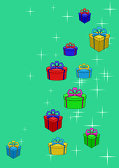 Gifts boxes and stars