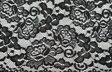 Background from black lace with pattern with form flower