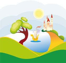 Printed kitchen splashbacks Castle lake landscape