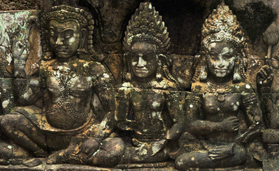 stone carvings in angkor wat,cambodia