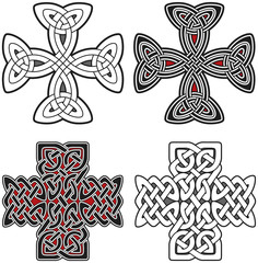 Set of celtic design elements crosses