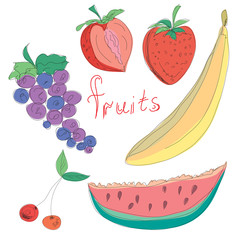 Set of hand drawn fruits