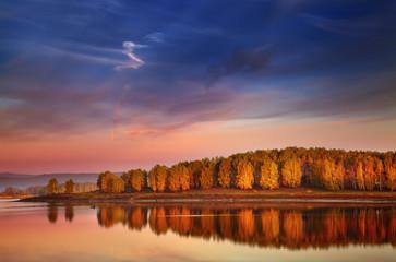 Wall Mural - Sunrise over lake