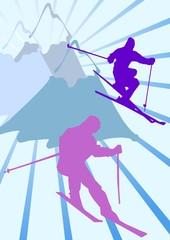 Silhouette sciatori ed Alpi