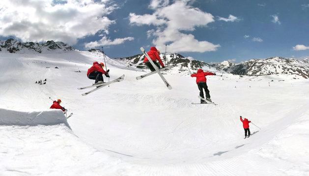 Skier in snowpark