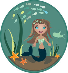 The small mermaid at the bottom of the sea  - vector illustratio