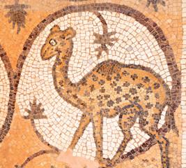 Giraffe at ancient mosaic in an christian church in Petra