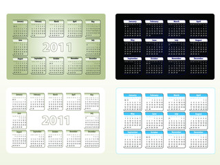 Four designs of calendar for 2011 (sun-sat)