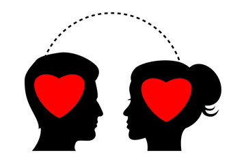 silhouette with hearts in their mind