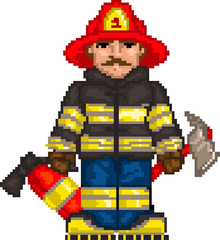 Printed kitchen splashbacks Pixel PixelArt: Firefighter